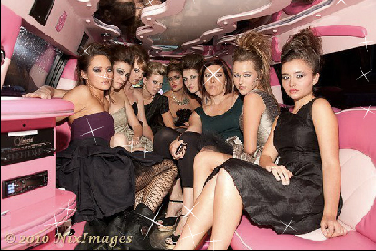 Women Riding Pink Limo